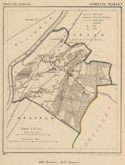 Gemeente Tegelen anno ca. 1870, kaart J. Kuijper (collectie www.atlasenkaart.nl)