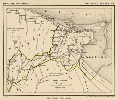 Gemeente Termunten anno ca. 1870, kaart J. Kuijper (collectie www.atlasenkaart.nl)