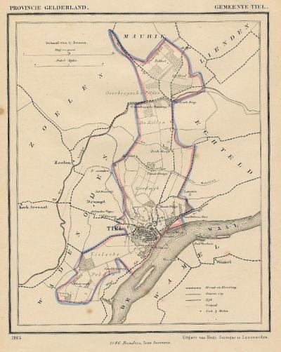 Gemeente Tiel anno ca. 1870, kaart J. Kuijper