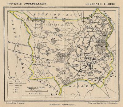 Gemeente Tilburg anno ca. 1870, kaart J. Kuijper (© www.atlasenkaart.nl)