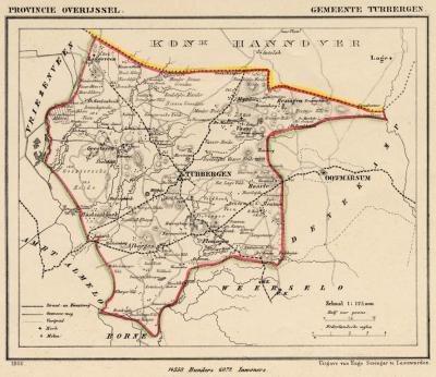 Gemeente Tubbergen anno ca. 1870, kaart J. Kuijper (collectie www.atlasenkaart.nl)