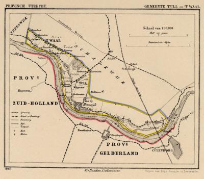 Gemeente Tull en 't Waal anno ca. 1870, kaart J. Kuijper. Het was een langgerekte gemeente, die ook de buurtschap Honswijk in het ZO omvatte. Deze valt tegenwoordig onder het dorpsgebied van Schalkwijk. (collectie www.atlasenkaart.nl)