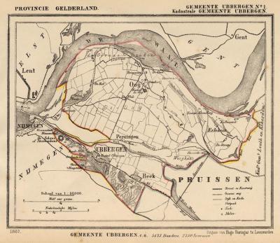 Gemeente Ubbergen anno ca. 1870, kaart J. Kuijper, exclusief de in 1814 opgeheven gemeente Leuth