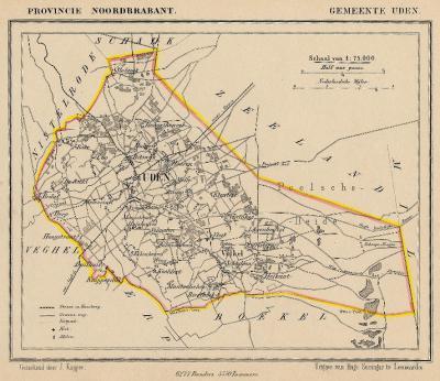 Gemeente Uden anno ca. 1870, kaart J. Kuijper (collectie www.atlasenkaart.nl)