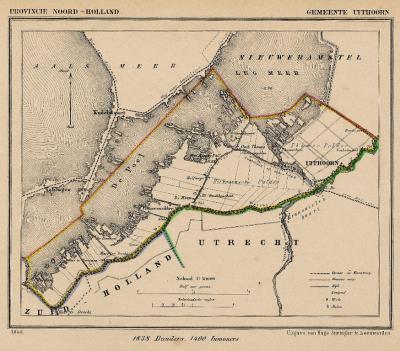 Gemeente Uithoorn anno ca. 1870, kaart J. Kuijper (collectie www.atlasenkaart.nl)