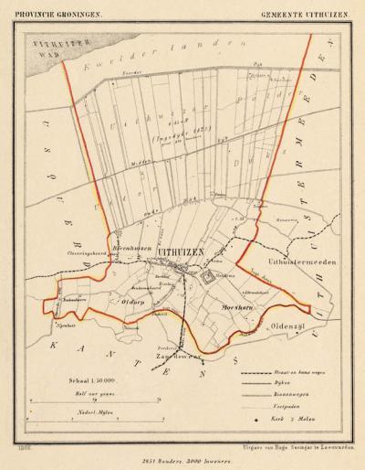 Gemeente Uithuizen anno ca. 1870, kaart J. Kuijper (collectie www.atlasenkaart.nl)