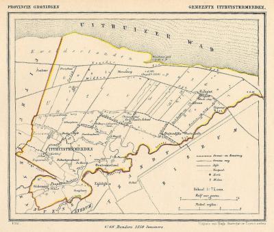 Gemeente Uithuizermeeden anno ca. 1870, kaart J. Kuijper (collectie www.atlasenkaart.nl)