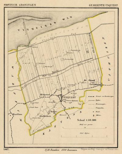 Gemeente Usquert anno ca. 1870, kaart J. Kuijper (collectie www.atlasenkaart.nl)