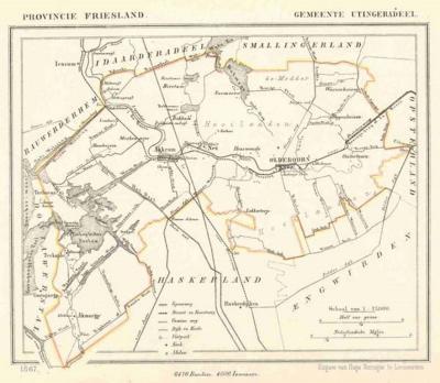 Gemeente Utingeradeel anno ca. 1870, kaart J. Kuijper (collectie www.atlasenkaart.nl)