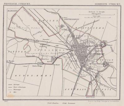 Gemeente Utrecht anno ca. 1870, kaart J. Kuijper (collectie www.atlasenkaart.nl/)