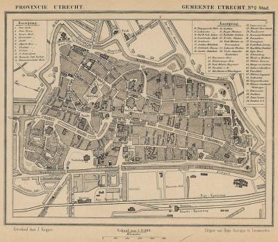 Stad Utrecht anno ca. 1870, kaart J. Kuijper (collectie atlasenkaart.nl)