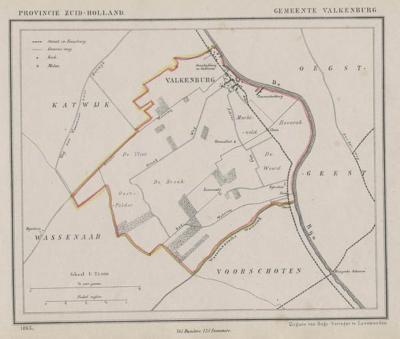 Gemeente Valkenburg (Zuid-Holland) anno ca. 1870, kaart J. Kuijper (collectie www.atlasenkaart.nl)