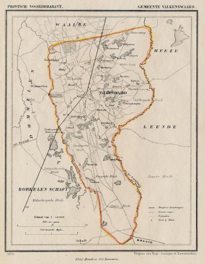 Gemeente Valkenswaard anno ca. 1870, kaart J. Kuijper (collectie www.atlasenkaart.nl)