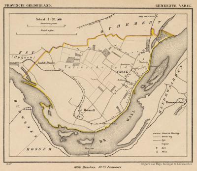 Gemeente Varik anno ca. 1870, kaart J. Kuijper