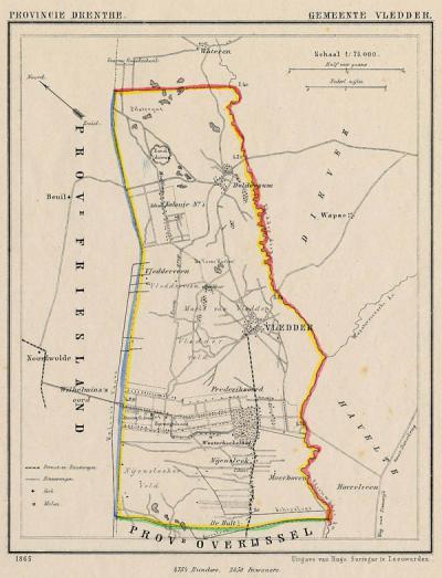 Gemeente Vledder anno ca. 1870, kaart J. Kuijper (collectie www.atlasenkaart.nl)