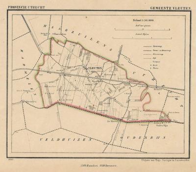 Gemeente Vleuten in ca. 1870, kaart J. Kuijper (collectie www.atlasenkaart.nl)
