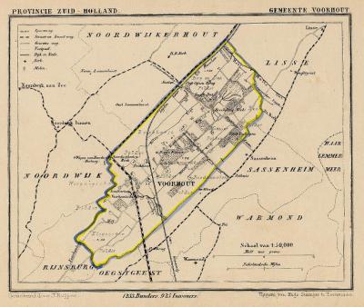 Gemeente Voorhout anno ca. 1870, kaart J. Kuijper (collectie www.atlasenkaart.nl)