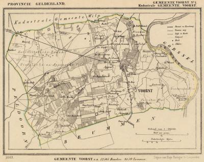 Gemeente Voorst anno ca. 1870, kaart J. Kuijper, exclusief de in 1818 opgeheven gemeenten Nijbroek, Twello en Wilp