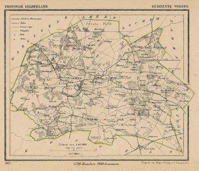 Gemeente Vorden anno ca. 1870, kaart J. Kuijper