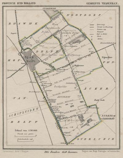 Gemeente Vrijenban anno ca. 1870, kaart J. Kuijper (© www.atlasenkaart.nl)