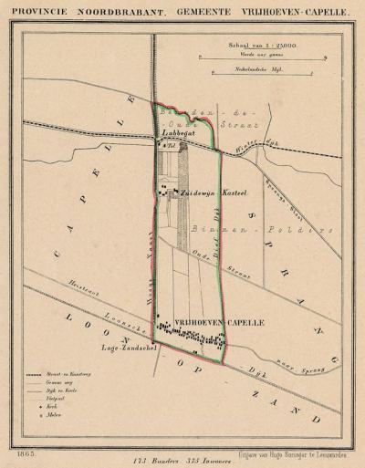 Gemeente Vrijhoeve-Capelle anno ca. 1870, kaart J. Kuijper (© atlasenkaart.nl)