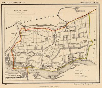 Gemeente Vuren anno ca. 1870, kaart J. Kuijper (collectie www.atlasenkaart.nl)