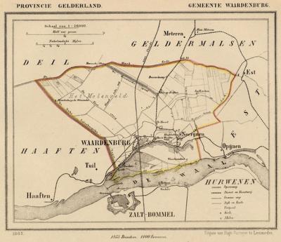 Gemeente Waardenburg anno ca. 1870, kaart J. Kuijper