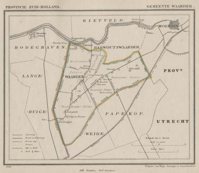 Gemeente Waarder anno ca. 1870, kaart J. Kuijper (collectie www.atlasenkaart.nl)