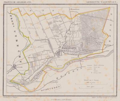 Gemeente Wageningen anno ca. 1870, kaart J. Kuijper (collectie www.atlasenkaart.nl)