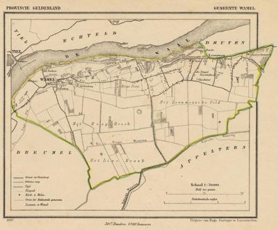 Gemeente Wamel anno ca. 1870, kaart J. Kuijper