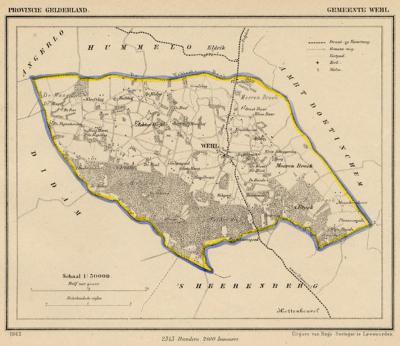 Gemeente Wehl anno ca. 1870, kaart J. Kuijper (collectie www.atlasenkaart.nl)