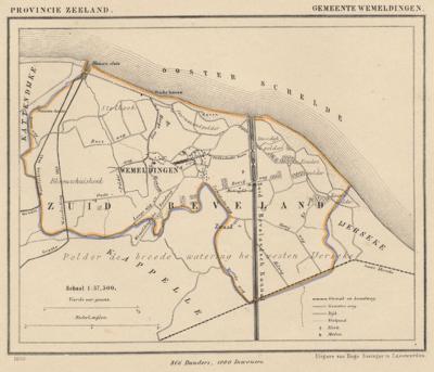 Gemeente Wemeldinge anno ca. 1870, kaart J. Kuijper (© www.atlasenkaart.nl)