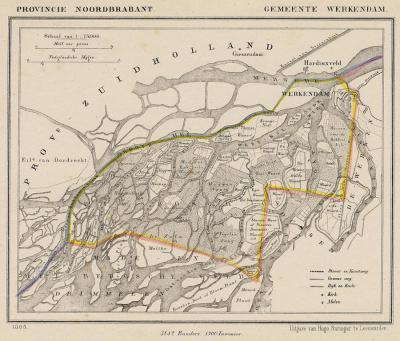 Gemeente Werkendam anno ca. 1870, kaart J. Kuijper (collectie www.atlasenkaart.nl)