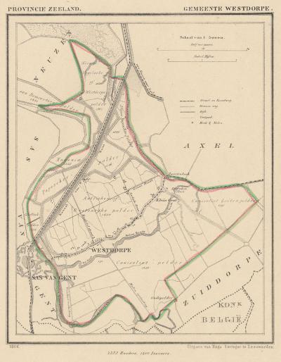 Gemeente Westdorpe anno ca. 1870, kaart J. Kuijper (collectie www.atlasenkaart.nl)
