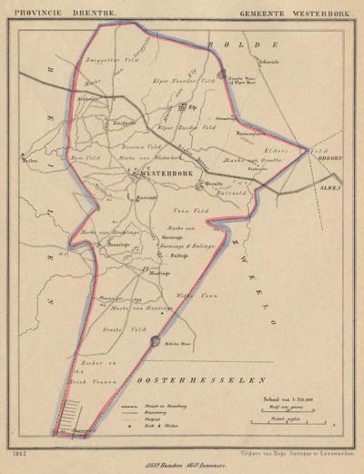 Gemeente Westerbork anno ca. 1870, kaart J. Kuijper (collectie www.atlasenkaart.nl)