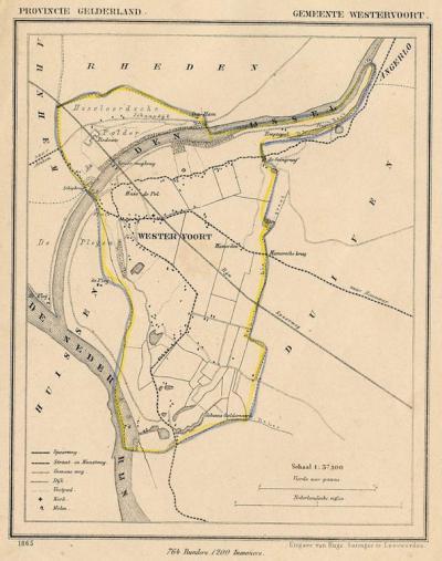 Gemeente Westervoort anno ca. 1870, kaart J. Kuijper