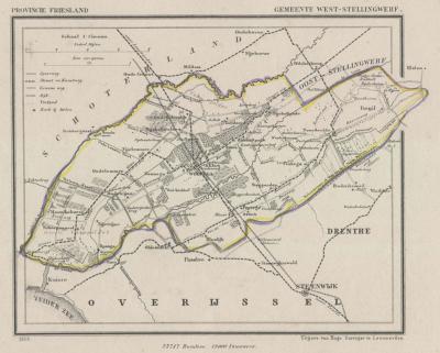Gemeente Weststellingwerf anno ca. 1870, kaart J. Kuijper (collectie www.atlasenkaart.nl)