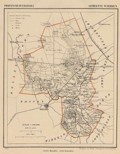 Gemeente Wierden anno ca. 1870, kaart J. Kuijper (collectie www.atlasenkaart.nl)