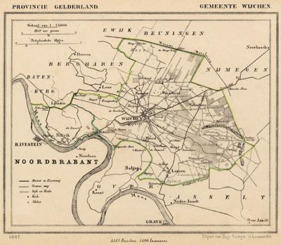 Gemeente Wijchen anno ca. 1870, kaart J. Kuijper