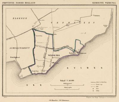 Gemeente Wijdenes anno ca. 1870, kaart J. Kuijper (collectie www.atlasenkaart.nl)