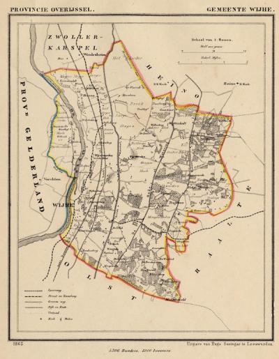 Gemeente Wijhe anno ca. 1870, kaart J. Kuijper (collectie www.atlasenkaart.nl)