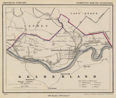 Gemeente Wijk bij Duurstede anno ca. 1870, kaart J. Kuijper