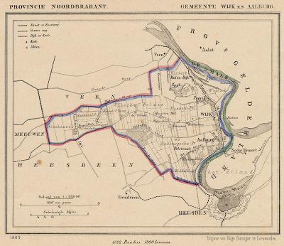 Gemeente Wijk en Aalburg anno ca. 1870, kaart J. Kuijper (collectie www.atlasenkaart.nl)