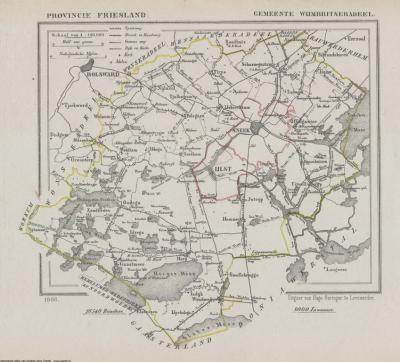 Gemeente Wijmbritseradeel anno ca. 1870, kaart J. Kuijper (collectie www.atlasenkaart.nl)