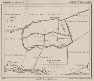 Gemeente Wijngaarden anno ca. 1870, kaart J. Kuijper (collectie www.atlasenkaart.nl)