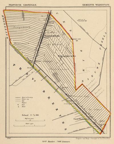 Gemeente Wildervank anno ca. 1870, kaart J. Kuijper (collectie www.atlasenkaart.nl)