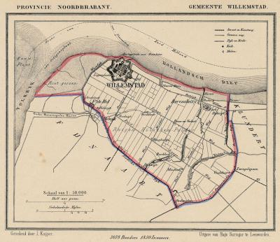 Gemeente Willemstad anno ca. 1870, kaart J. Kuijper (collectie www.atlasenkaart.nl)