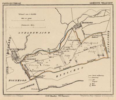 Gemeente Willeskop anno ca. 1870, kaart J. Kuijper (© www.atlasenkaart.nl)