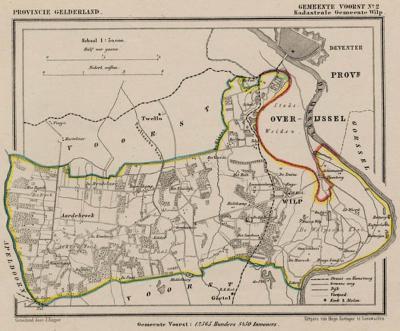Kaart van de in 1818 opgeheven gemeente Wilp, situatie anno ca. 1870, kaart J. Kuijper