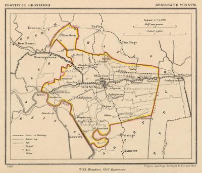 Gemeente Winsum anno ca. 1870, kaart J. Kuijper (collectie www.atlasenkaart.nl)